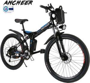 Günstige E-Bikes ANCHEER Elektrofahrrad Faltbares Mountainbike, 26 Zoll Reifen Elektrisches