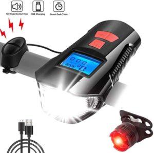 AlfaView USB Wiederaufladbar LED Fahrradlicht Frontlicht und Rücklicht Set Wasserdichter Fahrradtacho