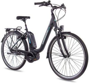 CHRISSON 28 Zoll Damen Trekking- und City-E-Bike - E-Cassiopea schwarz - Elektro Fahrrad Damen - 7G Shimano