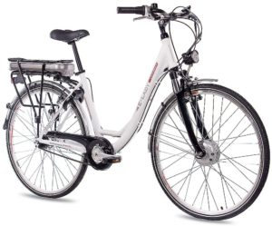 Günstige E-Bikes CHRISSON 28 Zoll E-Bike Trekking und City Bike für Damen - E-Lady Weiss mit 7 Gang Shimano Nexus Nabenschaltung