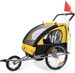 SFahrrad Kinderanhänger AMAX Fahrradanhänger Jogger 2in1 Kinderanhänger Kinderfahrradanhänger Transportwagen gefederte Hinterachse für 2 Kinder