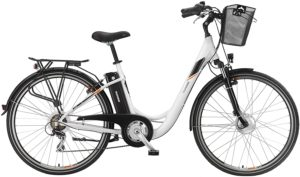 Telefunken E-Bike Elektrofahrrad Alu 28 Zoll mit 7-Gang Shimano Kettenschaltung, Pedelec Citybike leicht mit Fahrradkorb, 250W
