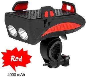 TYGJ 4 in 1 Fahrrad Licht, USB Wiederaufladbar Fahrrad LED Scheinwerfer, DREI Beleuchtungsmodi Können als Fahradlicht, Handyhalterung, Fahrrad...
