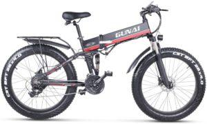 GUNAI Fettreifen Fahrrad 26 Zoll Elektro Fahrrad 1000 Watt 48 V Schnee e-Bike 21 Geschwindigkeiten Llithium Batterie Hydraulische Scheibenbremsen Mountain E-Bike für Erwachsene