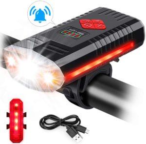MOSFiATA USB Fahrradlicht mit Klingel, 4 Tasten mit 9 Modi, 3 LED 1000 Lumen Superhelle Fahrradleuchte mit 1200 mAh Lithium, IPX4 wasserdichter...
