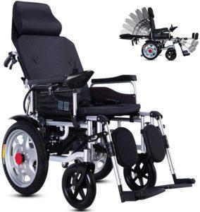 Elektrorollstuhl KuiGu Faltbarer Power Kompakter Mobilitätshilfe-Rollstuhl, Leichter elektrischer Elektrorollstuhl Reclining, tragbarer medizinischer Roller,25km
