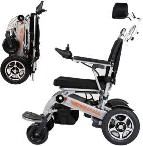 Elektrorollstuhl RDJM Ultraleichter Faltbarer Elektrischer Rollstuhl, Elektro-Rollstuhl mit Kopfstütze und Li-Ion Battery 20Ah, für ältere und behinderte Menschen