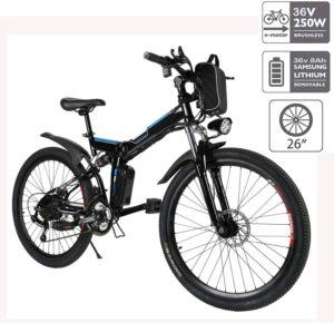 Hiriyt E-Bike Mountainbike, 250W, 36V, Rücken 7-Gang Getriebesystem Faltrad Fahrrad, Große Kapazität Pedelec mit Lithium-Akku und Ladegerät