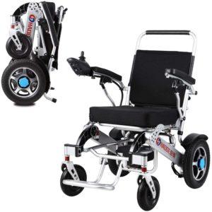 Elektrorollstuhl, Faltbarer Tragbarer Leichtgewichtige Dual Function Fetable Power Wheelchair für ältere, Behinderte und Hemiplegie Patienten (Li-Ion Battery 250W*2)