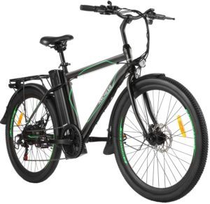 "ANCHEER 26"" E-Bike Elektrofahrrad mit Abnehmbarer 10Ah Akku, 6-Gang-Getriebe Stadtfahrrad Pedelec für Erwachsene"