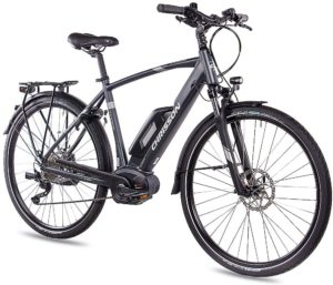 CHRISSON 28 Zoll Herren Trekking- und City-E-Bike - E-Actourus anthrazit matt - Elektro Fahrrad Herren - 10 Gang Shimano Deore Schaltung - Pedelec mit...