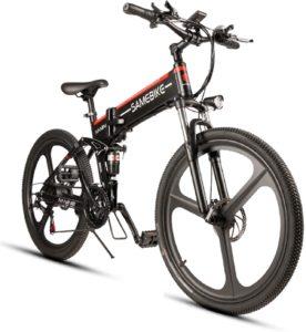 Günstige E-Bikes Elektrofahrrad Mountainbike, 26 Reifen Elektrisches Faltbares Fahrrad mit 350W Kettenschaltung Shimano 21 Gang, Schwarz