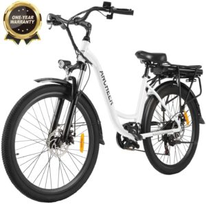 ANCHEER 26 Zoll City E-Bike mit 250W Motor 7-Gang-Getriebe, Elektrofahrrad Pedelec mit 36V 12.5AH Abnehmbarer Lithium Akku 30 Meilen